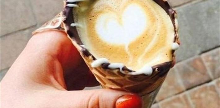 coffee in a cone cafe saula