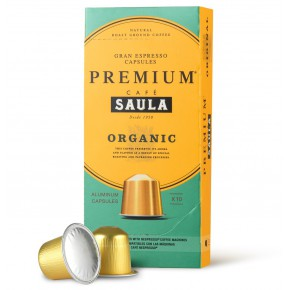 COMPOSTABLE CAPSULES WITH ORGANIC DECAFFEINATED COFFEE.